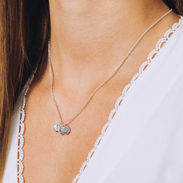 Personalised petite 3 Pebble Necklace Set - Perspective Image