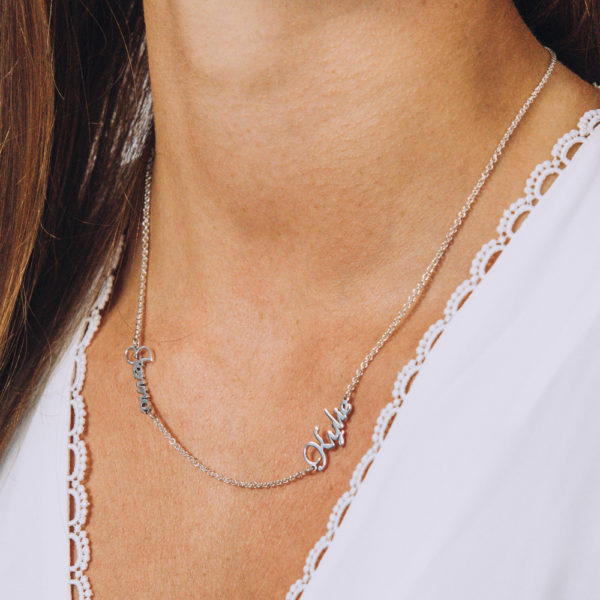 Dainty Double Name Necklace - Perspective Image