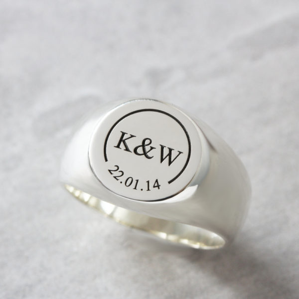 Sterling Silver mens signet ring Solid Round Initials & Date Signet Ring by silvery south africa