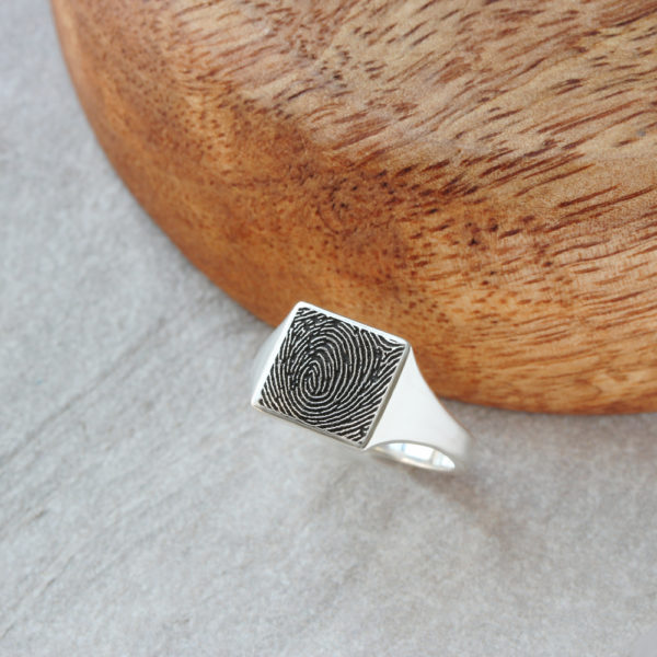 engraved fingerprint signet ring square signet ring by silvery jewellery