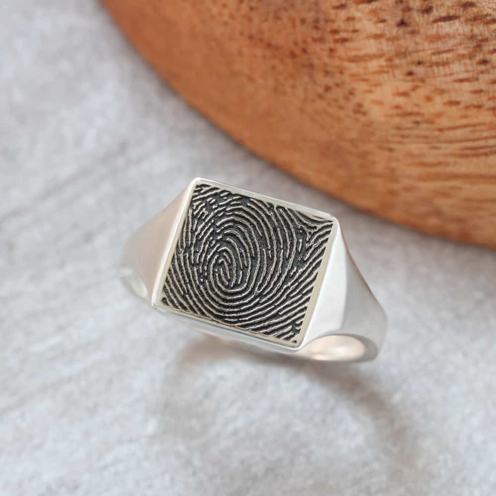 engraved mens fingerprint signet ring square signet ring by silvery jewellery.
