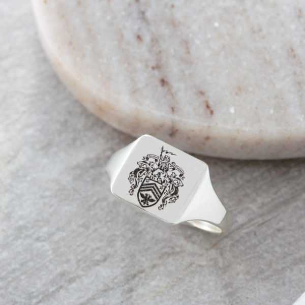solid family crest signet ring by silvery jewellery for men