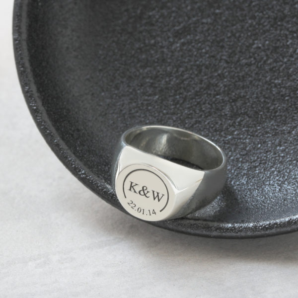 round signet rings by silvery south africa Solid Round Initials & Date Signet Ring